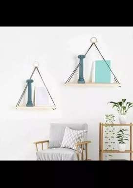 ambalan gantungan tali kayu rak dekorasi dinding kamar hiasan gantunga
