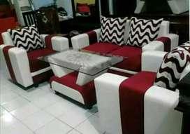 READY-Stock,Sofa 321 set cream-maron minimalis kulit.