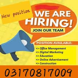 Online jobs for Male and female staff required