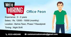 Office Boy/ Peon Required for a Office in Bahria Phase 7 Rawalpindi