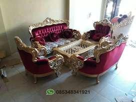 Sofa dan kursi tamu ukir motif royal