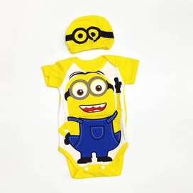 Jumper Bayi Minion Set Topi Lucu Baju Kostum Jumpsuit Baby - size S