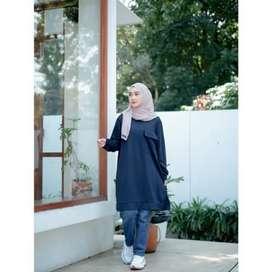 Zeline pocket tunic, baju hijaber hangingout