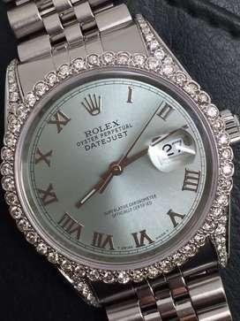 Rolex men SS Datejust Ice Blue roman with diamonds