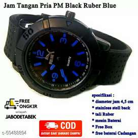 Jam Impor Pria Rubber Pm Black Blue-Dark