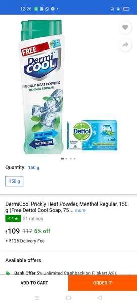 Dermi Cool 150G Powder and dettol Soap worth Rs 50 Free . Min Qty 72