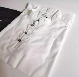 BAJU KOKO PRIA WHITE BLACK(M,L,XL)
