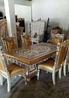 Jual Kursi makan mewah furniture kursi klasik finishing combinasi gold