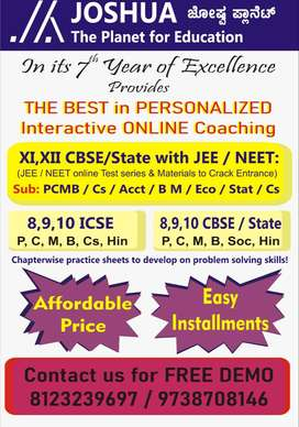 JEE/NEET/CET and 8 to 12 CBSE/ICSE/State board tutions