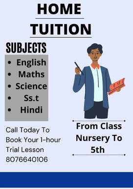 Home tutor from class nursery to 5th