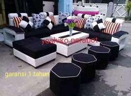 Yoshiko perabot - sofa L kawai hitam putih