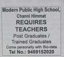 Science,Maths, S.st teachers (B.Ed is mandatory)