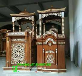 Mimbar podium masjid agung kayu jati