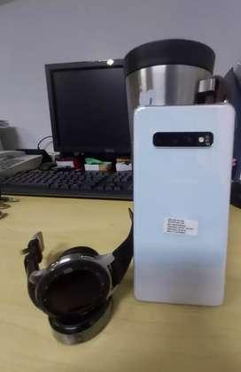 Samsung S10 Plus 128Gb Prism White dan samsung galaxy watch 46mm