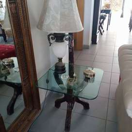 2 wooden glass top peg tables