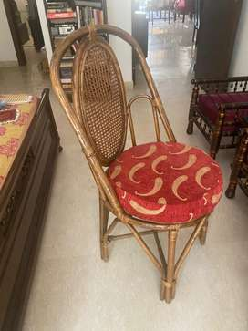 Sturdy Cane chairs with cusions (6 nos.)