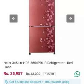 Brand New Haier 345 L Double Door Refrigerator Mrp 43550 Offer 26130