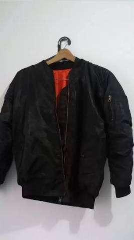 Ready COD - jaket ok trendy bomber polos black size XL