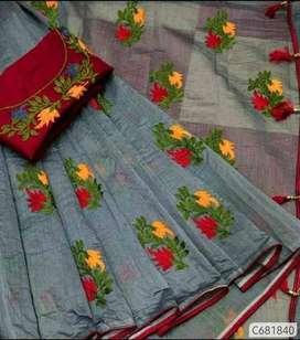 Stunning Chanderi Cotton Silk Heavy Thread Work Sarees