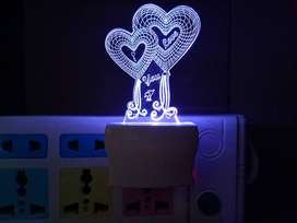 3D Illusion I Love You Design Night Lamp with 7 Color Changing Light f