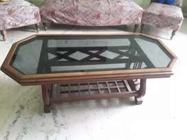 Centre table wooden with glass  top