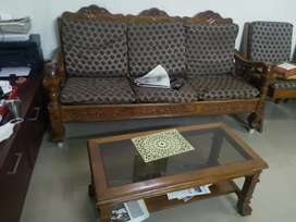 Heavy teak wood Sofa set  (3+2) and Central table for sale
