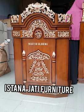 mimbar mushola masjid bahan jati masjid