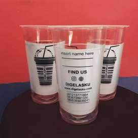 Gelas cup 22 oz PP (plastik) ++ sablon logo