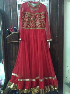 Red floor touch gown. One time used only. brand