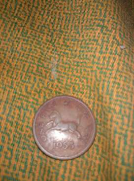 1 pice old antique coins of 1953