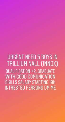 urgent need 4 boys in trillium mall in innox cinema candidate inboox .