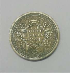 one rupee India 1944 George VI king emperor coin