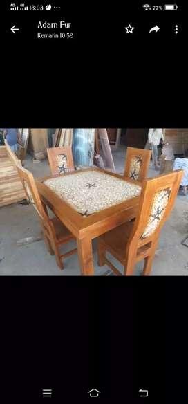 Meja makan jati kursi 4