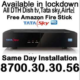 TATA Sky SD or HD new with free Amazon fire stick(Worth rs 3999)