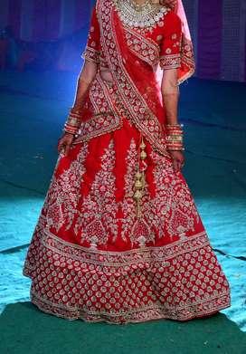 Red bridal lahenga
