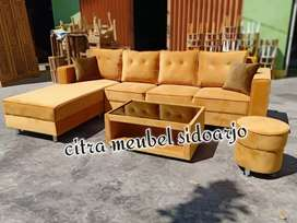 Sofa selonjor orange bludru SHOFY