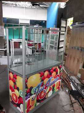 Gerobak kaca kotak jus buah