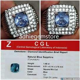 Promo Batu cincin natural asli blue sapphire NH Srilanka 1.48ct