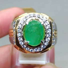 Batu Cincin Zamrud Emerald Beril oval Natural asli