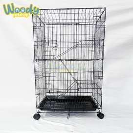 Kandang Kucing Anjing Roda Tingkat 3 Besi Tebal Lipat 60 x 42 x 90 cm