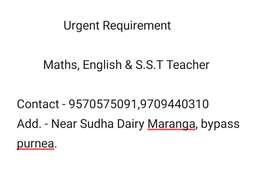Urgent requirement Maths & English Teacher for Std.I to Std. VIII.