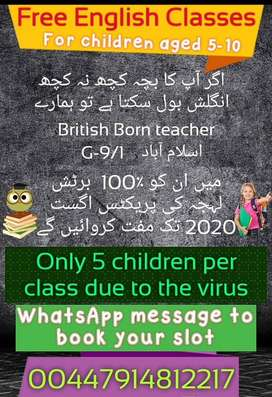 FREE ENGLISH CLASSES FOR KIDS IN ISLAMABAD (BY A BRITISH BORN TEACHER)