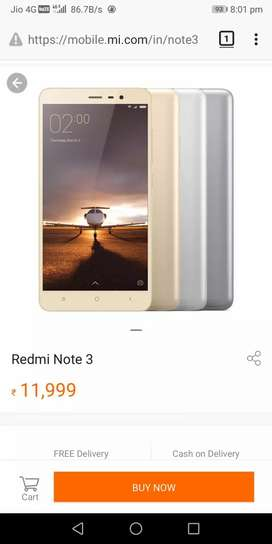 Redmi Note3 4000MAH Battery with Original Bill Box & Charger of Rs.500
