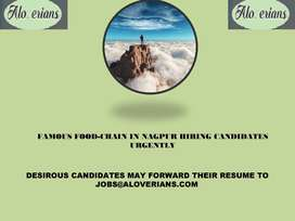 FAMOUS FOOD CHAIN OF NAGPUR HIRING URGENTLY