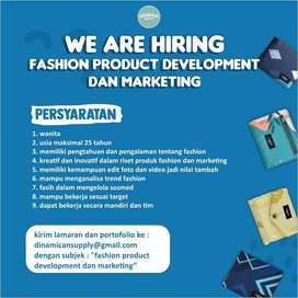 Lowongan Riset Produk Fashion dan Marketing Brand Fashion