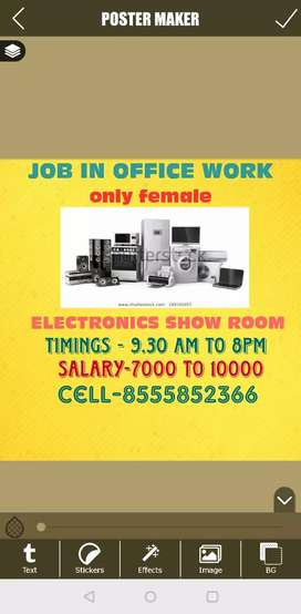 Job in electronics showroom