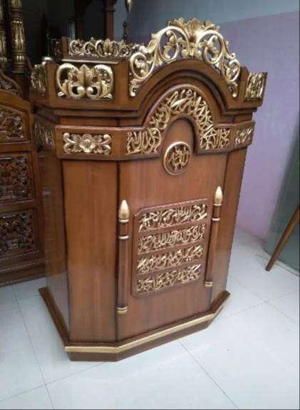 mimbar masjid ukir gendong kayu jati 0