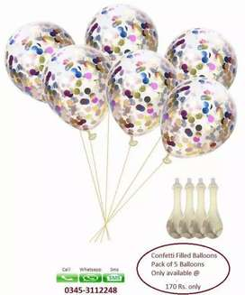 Confetti filled balloons pack of 5