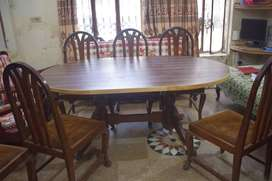 Pure Black Wood Big Dining Table