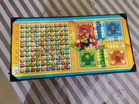 Ludo cum snake and ladders wooden stand board